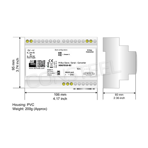 Przemysłowy konwerter M-Bus Slave na RS232/RS485 - HD67018-B2