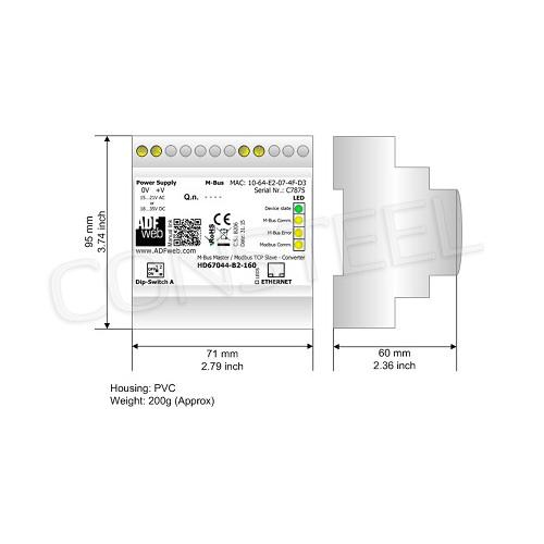 Przemysłowy konwerter MBus na Modbus TCP - HD67044-B2-80
