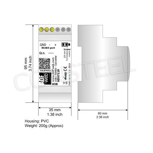 Przemysłowy konwerter USB 2.0 (typ B) na RS-485 - HD67119