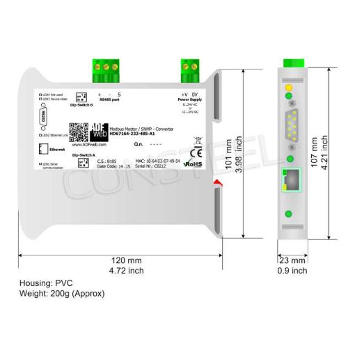Przemysłowy konwerter Modbus RTU na SNMP - HD67164-485-A1
