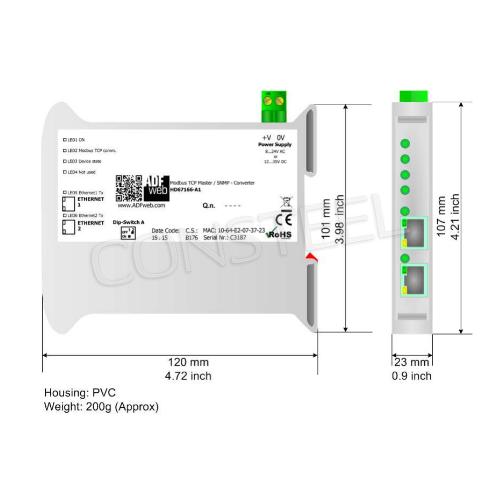 Przemysłowy konwerter Modbus TCP na SNMP agent - HD67166-A1