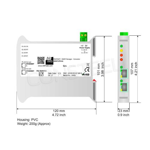 Przemysłowy konwerter PROFINET na SNMP manager - HD67178-A1