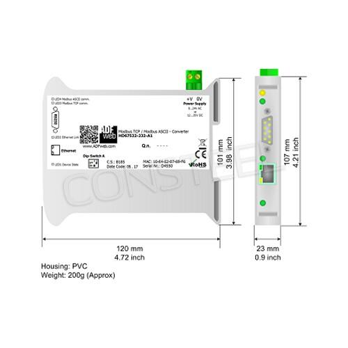 Przemysłowy konwerter Modbus TCP na Modbus ASCII - HD67522-232-A1
