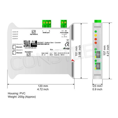 Przemysłowy konwerter PROFINET na Modbus RTU - HD67603-485-A1