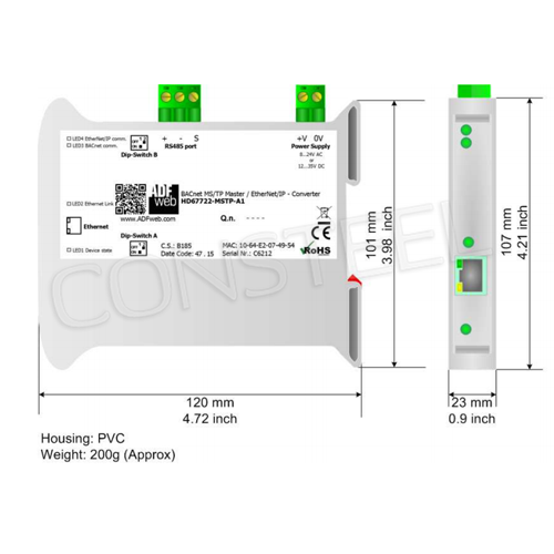 Industrial BACnet MSTP to Ethernet IP converter - HD67722 ...