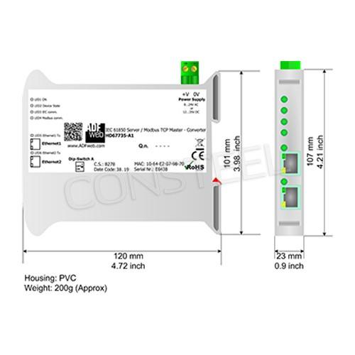 Konwerter IEC 61850 server na Modbus TCP - HD67735-A1