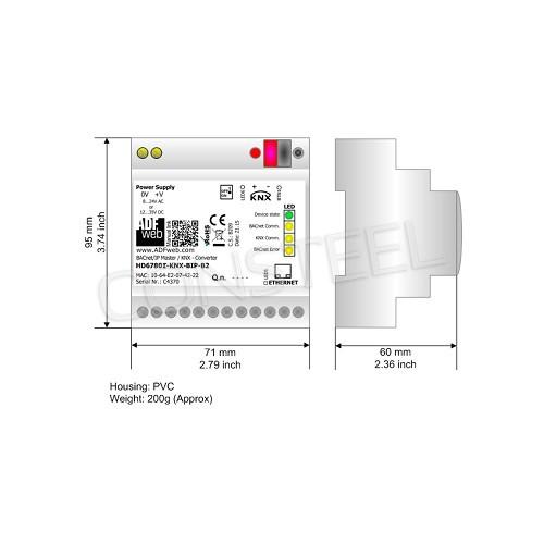 Przemysłowy konwerter BACnet IP na KNX - HD67801-KNX-BIP-B2