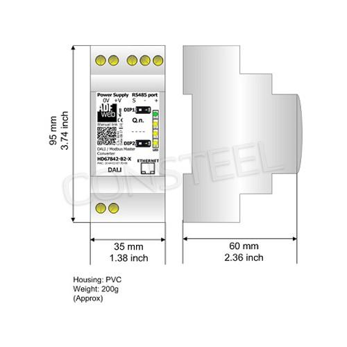 Przemysłowy konwerter DALI na Modbus RTU - HD67842-B2
